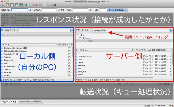 FileZilla接続後画面