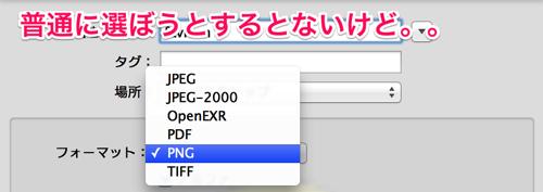 プレビューで書き出すときは「option」キーでフォーマットが増える